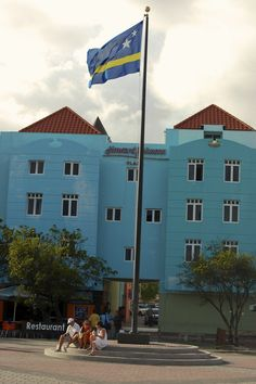 Curacao flag front of The Howard Johnson hotel.