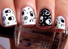 Black gray & white nail design..