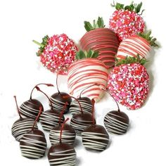 Valentine's Day Chocolate Covered Strawberries and Cherries
