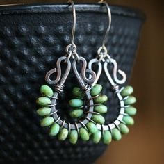 gonna have to give this technique a try ... Handmade beaded dangle earrings green Czech by MimiMicheleJewelry, $42.50