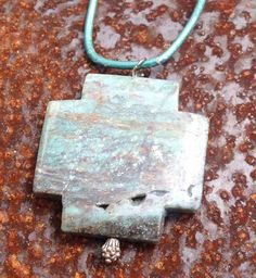 Ruby Zoisite Cross on Leather Necklace originally 35 dollars now 17.50 back to school sale