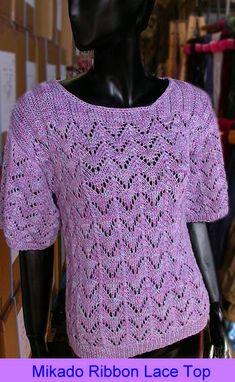 Mikado Ribbon Lacy Pullover - free knitting pattern from Crystal Palace Yarns