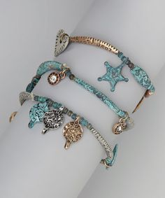 Turquoise Charm Stretch Bracelet #zulily #zulilyfinds