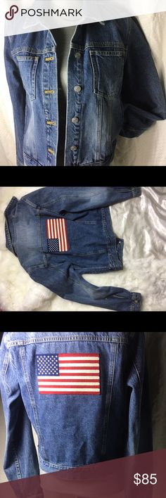 Vintage POLO by Ralph Lauren  co Jean jacket denim Ralph Lauren Jean denim jacket with American flag patch at the back, rad af ! Polo by Ralph Lauren Jackets & Coats Jean Jackets
