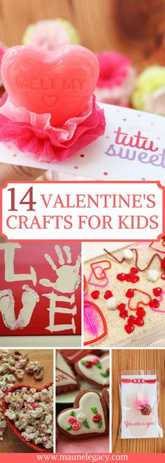 14 Valentine's Day Crafts for Kids including free printables, handprint art, sensory fun, simple treats, handmade Valentine's, teacher's gifts, and more!