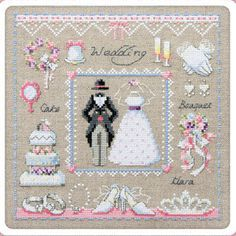 Wedding sampler cross stitch pattern and kit counted by sewsewnsew