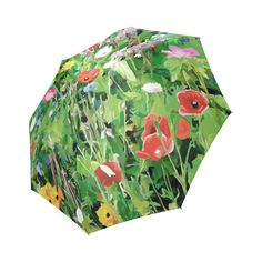 Red Pink Yellow Flower Garden Floral Foldable Umbrella