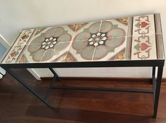 Hydraulic/cement rescued tile console from Barcelona Cement, Entryway Tables, Console, Coasters, Tiles, Barcelona, Frame, Furniture, Home Decor