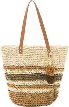 Tan Stripe Pom-Pom Straw Tote Bag #ad
