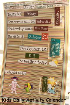 Kid friendly calendar! Teach month, days, and weather