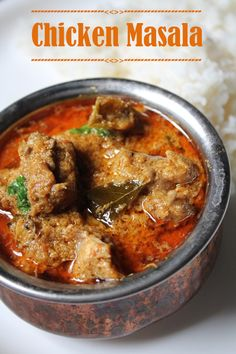 Chicken Masala Curry (with coconut, poppy seeds, fennel seeds, curry leaves) #SouthIndianRecipe