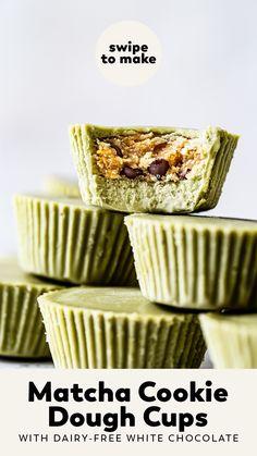 Chocolate Chip Cookie Dough, Mini Chocolate Chips, Chocolate Recipes, White Chocolate, Dessert Chocolate, Chocolate Cups, Healthy Dessert Recipes, Vegan Recipes, Healthy Vegan Desserts
