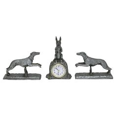 Petite size would fit perfectly in a small space. Clock has been replaced with a new battery operated clock. Dogs, x x clock, x x Maker's mark on underside. Rabbit Hunting, Quail Hunting, Deer Hunting Tips, Wall Desk, Desk Clock, French Antiques, Vintage Antiques, Hunting Pictures, Cottage Style