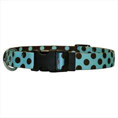 Yellow Dog Design Blue and Melon Polka Dot Martingale Dog Collar
