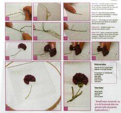 "ru / Photo # 56 - Examples of the use of a tape ""Majestik"" - Galazil Diy Ribbon Flowers, Ribbon Art, Silk Flowers, Fabric Flowers, Ribbon Rose, Cross Stitching, Cross Stitch Embroidery, Embroidery Stitches Tutorial, Silk Ribbon Embroidery"