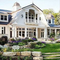 A shingle-style home designed by Wade Weissmann Architecture along with Robert Alt Design is sited on Lake Geneva, in southeastern Wisconsin. Future House, My House, Style At Home, French Style House, Shingle Style Homes, Balkon Design, Design Exterior, Gray Exterior, Exterior Homes