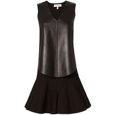 Derek Lam 10 Crosby 2 in 1 Leather Combo Dress (955 AUD) ❤ liked on Polyvore featuring dresses, leather flare dress, flared dresses, leather dress, sleeveless leather dress and no sleeve dress