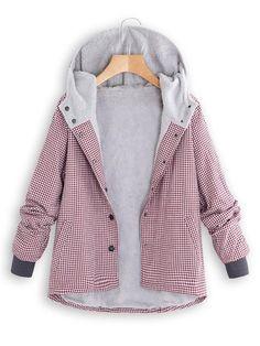 b63b417e2dff9 Fashion Casual National Style With Fleece Plaid Cotton-Padded Clothes Coat   Joygos  SpringCoat