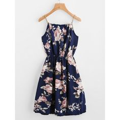 Braided Bead Strap Tie Front Flower Print Dress ($9.99) ❤ liked on Polyvore featuring dresses, navy, beaded dresses, navy a line dress, slip dress, long-sleeve floral dresses and navy blue dress