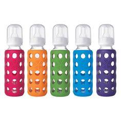 Glazen babyfles met siliconen hoes 260 ml Lifefactory