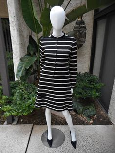 Vintage 1970's Youth Guild Black & Silver Striped Dress