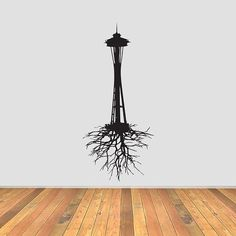 Seattle Space Needle with Roots Vinyl Decal by CurrentCutsVinyl