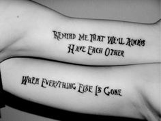 """best friend tattoos in """"The Nightmare Before Christmas"""" font. AND my favorite band! Great for a best friend tat :) brother sister tattoo Cute Sister Tattoos, Mother Daughter Tattoos, Best Friend Tattoos, Tattoos For Daughters, Sibling Tattoos, Father Daughter, Tattoo For Husband, Brother Sister Tattoos, Husband Wife Tattoos"""