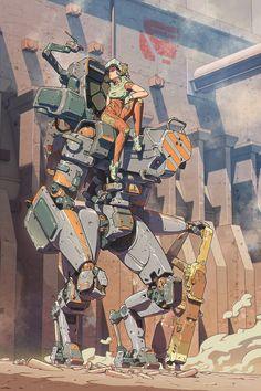 Mecha and Operator, Vasiliy Kovpak Sci Fi Kunst, Cyberpunk Kunst, Arte Robot, Robot Art, Character Concept, Character Art, Science Fiction Kunst, Arte Peculiar, Arte Steampunk