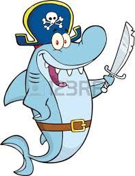 Pirate Shark Cartoon Character Holding A Sword. Raster Illustration Isolated on white Fish Illustration, Free Vector Illustration, Cartoon Drawings, Animal Drawings, Pirate Rock, Disney Duck, Fish Logo, Kawaii Doodles, Painting For Kids