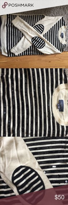 Gryphon 100% wool sweater Gryphon striped 100% wool and black sequin sweater. Excellent condition. Elbow patches on sleeves and solid back. Slim fit, true to size. Gryphon Sweaters Crew & Scoop Necks