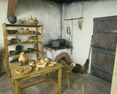 A recreated kitchen from the Historische Museum der Pfalz Speyer. Always have to eat at an event, so why not cook in the open and make the guest apart of the chore.