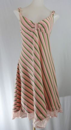 FREE PEOPLE M Pink Green Striped Sleeveless Cotton Stretch Lace Bottom Dress #FreePeople #Sundress #Casual