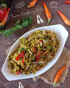 Tumis bunga pepaya By Baha Vegetable Dishes, Vegetable Recipes, Vegetarian Recipes, Cooking Recipes, Healthy Recipes, Cooking Time, Malay Food, Indonesian Cuisine, Indonesian Recipes