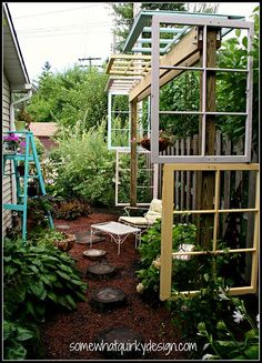 A beautiful and unique pergola built out of recycled windows!!