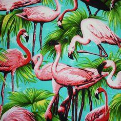 Tropical Flamingos Bird Print Cushion by MissCherriesBoutique