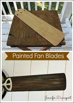 Painted Fan Blades- Are you fan blades boring and ugly? How To make your fan blades look like old barn wood. Ceiling Fan Blade Covers, Ceiling Fan Blades, Painted Fan Blades, Painting Ceiling Fans, Paint Ceiling, Ceiling Design, Decorative Ceiling Fans, Ceiling Fan Makeover, Faux Painting