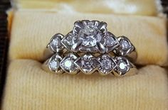 1940s Diamond Wedding Set .94Ctw White Gold by estatejewelryshop, $1025.00