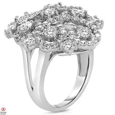 Ebay NissoniJewelry presents - Ladies' 2 1/2CT Diamond Cluster Fashion Ring 14K White Gold    Model Number:FR8392X_W477    http://www.ebay.com/itm/Ladies-2-1-2CT-Diamond-Cluster-Fashion-Ring-14K-White-Gold/221630372467