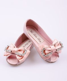 This Pink Rhinestone Bow Peep-Toe Ballet Flat by Mia Belle Baby is perfect! #zulilyfinds