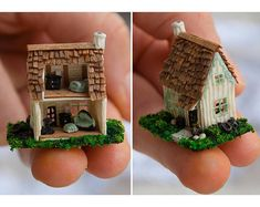 Miniature toy dollhouse realistic miniature house figurine realistic This miniature toy cottage is entirely handmade. All the pieces are handmade. Everything is glued in place. The dimensions of the dollhouse are: 1 Miniature Crafts, Miniature Houses, Miniature Dolls, Clay Houses, Dollhouse Toys, Dollhouse Miniatures, Toy House, Biscuit, Realistic Dolls