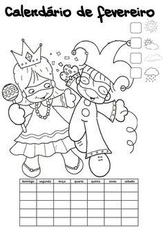 Calendário do mês de fevereiro com o tempo