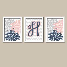 Navy Light Pink Grey Monogram Flower Burst Letter by trmDesign,