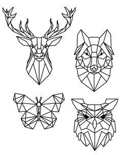 Coloriage pixel art dessin animaux à imprimer gratuit Geometric Drawing, Geometric Art, Geometric Animal, Geometric Designs, Geometric Owl Tattoo, Geometric Patterns, Tattoo Abstract, Geometric Embroidery, Abstract Shapes