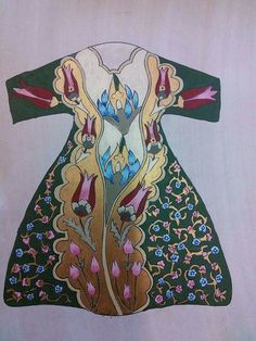 Ebru Kömürel bursali#kaftan Turkish Design, Turkish Art, Turkish Tiles, Bohemian Print, Arabic Art, Painted Clothes, Fantasy Inspiration, Tile Art, Fabric Painting