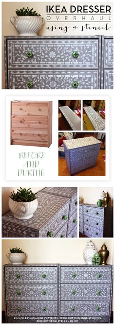 Cutting Edge Stencils shares a DIY stenciled Ikea dresser using the Indian Inlay Stencil kit. http://www.cuttingedgestencils.com/indian-inlay-stencil-furniture.html