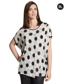 Chico's Women's Black Label Layered Graphic Dot Top