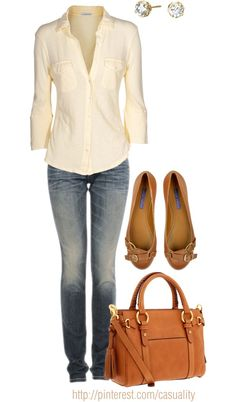 """Button Down & Flats"" by casuality on Polyvore"