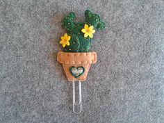 Segnalibro con Cactus Graffetta Planner accessories; Felt cactus; Succulent; Cacti paper clip