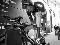 Scott Mitchell's Tour of Britain Gallery Bernhard Eisel fits his shoe cover before warming up on the turbo