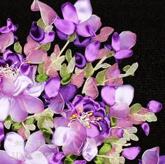 Ribbon Embroidery Kit Violet Matthiola Incana Needlework Craft Kit RE2008 | eBay